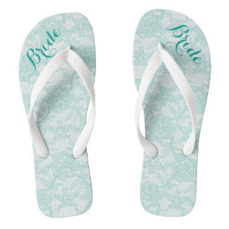 Rustic Teal Lace Bride Flip Flops