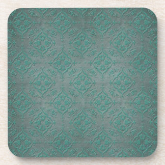Rustic Teal over Pewter Steel Grey Damask Coasters