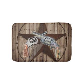 rustic texas star cowboy pistols western country bath mat