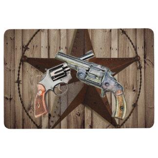 rustic texas star cowboy pistols western country floor mat