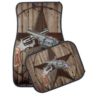 rustic texas star cowboy western country pistols car mat