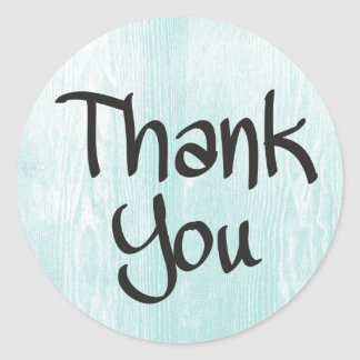 Rustic Thank You Blue Mint Turquoise Wood Classic Round Sticker