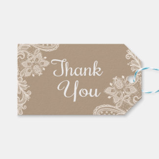 Rustic Thank You Brown And White Lace Gift Tags