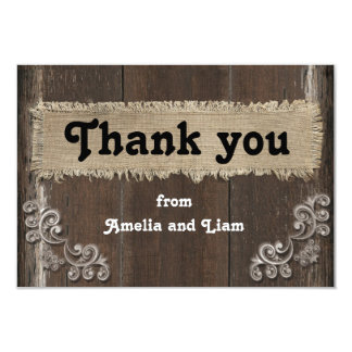 Rustic Thank You Card on Wood Background