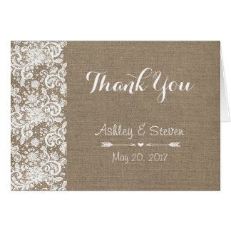 Rustic Thank You Card - wedding - Burlap and Lace