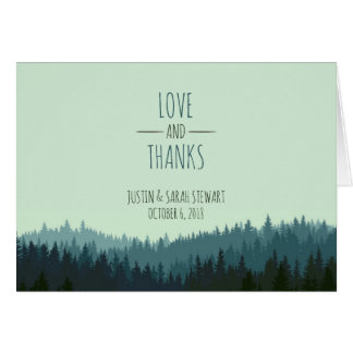 Rustic Thank You card with mountains in blue