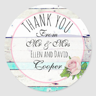 Rustic Thank You Floral Wedding Sticker
