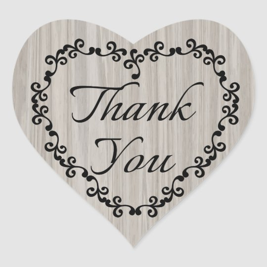 Rustic Thank You Grey Wood Black Floral Heart Heart Sticker