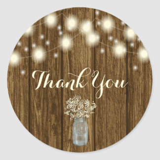 Rustic Thank You Sticker, Thank You Tag, Rustic Round Sticker