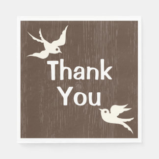 Rustic Thank You Wedding  Brown Wood  Lovebirds Disposable Napkin