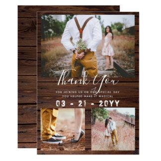 RUSTIC Thank You Wedding PHOTO COLLAGE Barn Card
