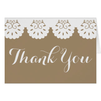 Rustic Thank You White Lace Brown Country Wedding Card