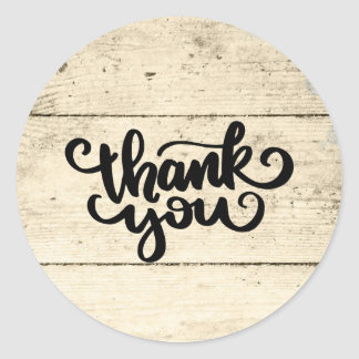 Rustic Thank You Wooden Plank Classic Round Sticker