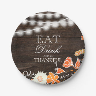 Rustic thankful typography wood Thanksgiving Paper Plate