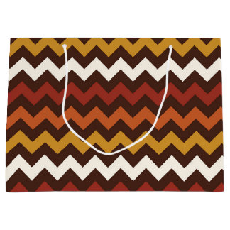 Rustic Thanksgiving Holiday Fall Autumn Chevron Large Gift Bag