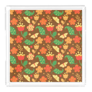 Rustic Thanksgiving Holiday Fall Autumn Colorful Acrylic Tray