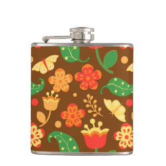 Rustic Thanksgiving Holiday Fall Autumn Colorful Hip Flask