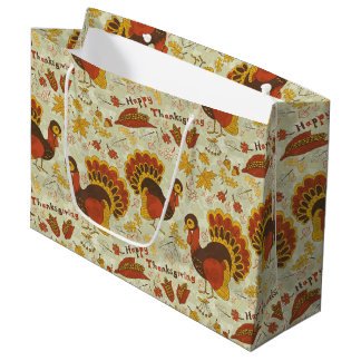 Rustic Thanksgiving Holiday Fall Autumn Colorful Large Gift Bag