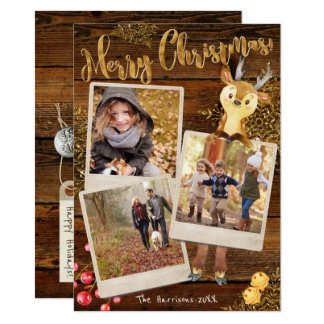 Rustic Three Photo Collage Personalized Christmas Card