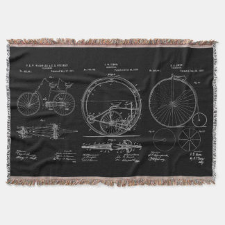 Rustic Throws Blueprint Bicycle Patents Throw Blanket
