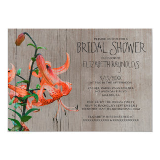 Rustic Tiger Lily Bridal Shower Invitations