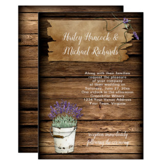 Rustic Tin Bucket Lavender Old Sign Barn Wood Card