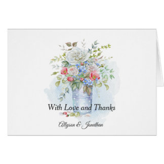 Rustic Tin Bucket Roses Wildflowers Bouquet | Card
