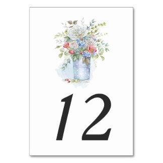 Rustic Tin Bucket Watercolor Garden Bouquet  | Card