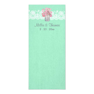 "Rustic Tin Can Floral on Mint Green Burlap Wedding 4"" X 9.25"" Invitation Card"