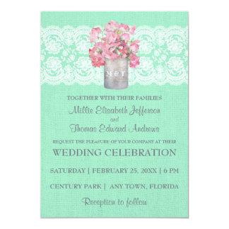 "Rustic Tin Can Floral on Mint Green Burlap Wedding 5"" X 7"" Invitation Card"