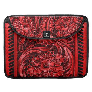 Rustic Tooled Leather Look | red MacBook Pro Sleeves
