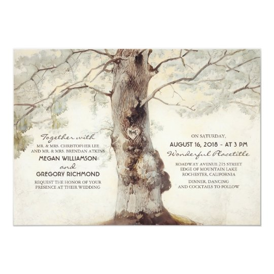 Rustic Tree and Carved Heart Wedding Invitations