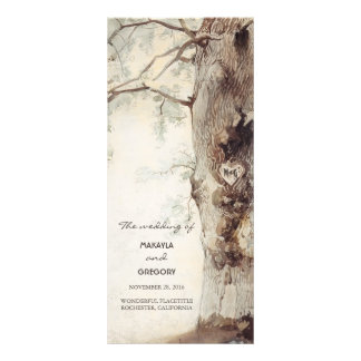 rustic tree and carved heart wedding programs
