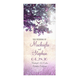 Rustic tree and love birds purple wedding programs rack cards