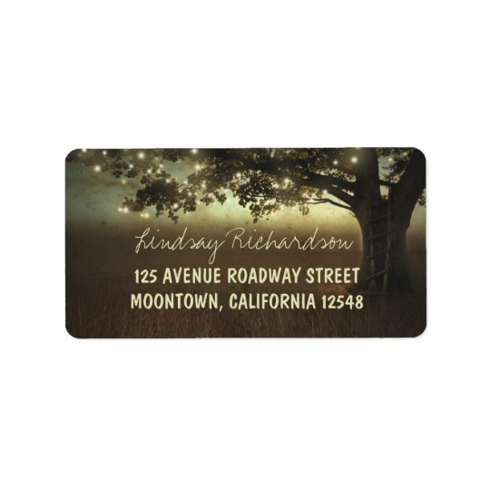 rustic tree and twinkle lights address labels