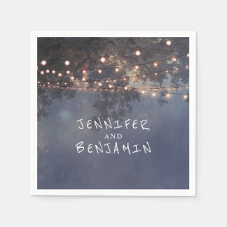 Rustic Tree Branches and Lights Wedding Disposable Napkins