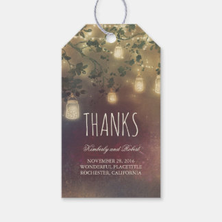 Rustic Tree Branches And Mason Jar Lights Gift Tags