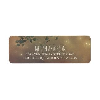 Rustic Tree Branches and String Lights Wedding Return Address Label