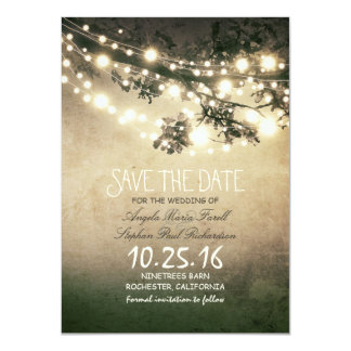 """Rustic tree branches & string lights save the date 4.5"""" x 6.25"""" invitation card"""