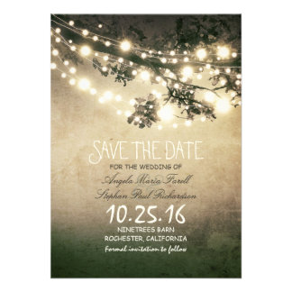 Rustic tree branches string lights save the date custom invites