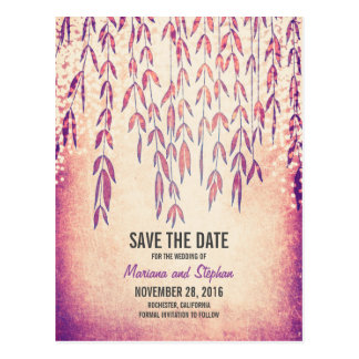 rustic tree branches string lights save the date postcard