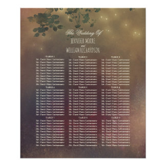 Rustic Tree Branches Wedding Seating Chart Poster