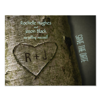 "Rustic Tree Carve -- Save the Date 4.25"" X 5.5"" Invitation Card"