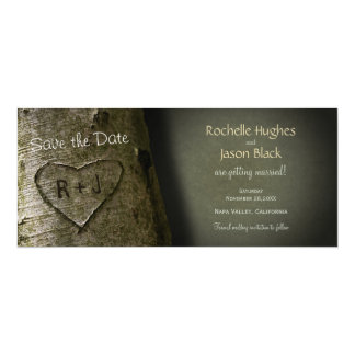 "Rustic Tree Carve -- Save the Date 4"" X 9.25"" Invitation Card"