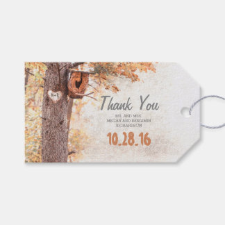 Rustic Tree Carved Heart Fall Wedding Pack Of Gift Tags