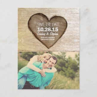 Rustic tree carved wood heart photo save the date announcement postcard