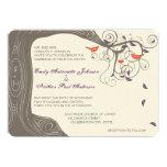 Rustic Tree Coral and Purple Wedding Invitations