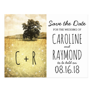 Rustic Tree Enchanted Firefly Meadow Save the Date Postcard