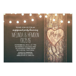 "rustic tree heart & string lights engagement party 5"" x 7"" invitation card"