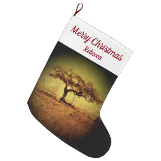 Rustic Tree Large Christmas Stocking